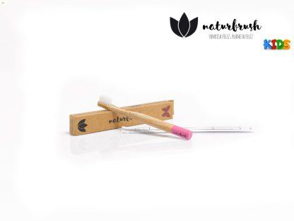 Cepillo de Dientes de Bambú para Niños - Naturbrush KIDS Rosa Empaque