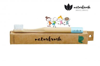 Cepillo de Dientes de Bambú para Niños - Naturbrush KIDS Celeste Perfil
