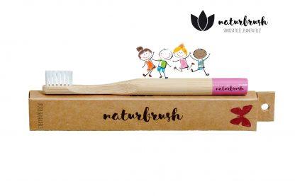 Cepillo de Dientes de Bambú para Niños - Naturbrush KIDS Rosa Perfil