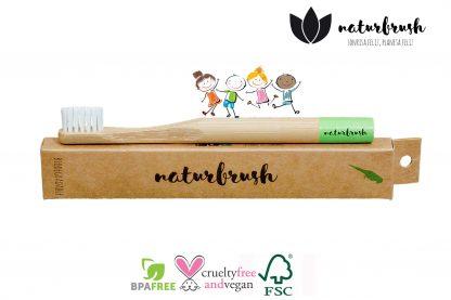 Cepillo de Dientes de Bambú para Niños - Naturbrush KIDS Verde