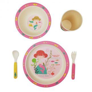 Vajilla Infantil de Bambú 5 piezas - Sirena 1