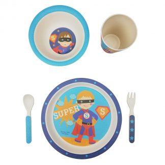 Vajilla Infantil de Bambú 5 piezas - Superhéroe 2