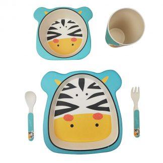 Vajilla Infantil de Bambú 5 piezas - Zebra