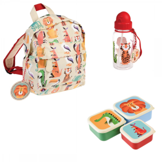 set vuelta al cole mochila botella tuppers animales rex london