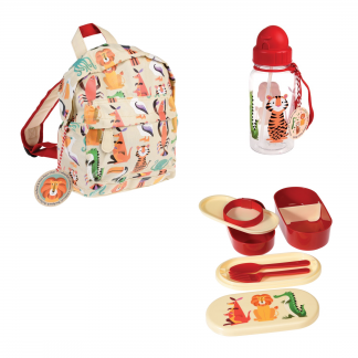 set vuelta al cole mochila botella fiambrera animales rex london