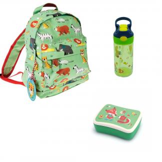 pack vuelta al cole animales verde con mochila fiambrera y botella de janabanana