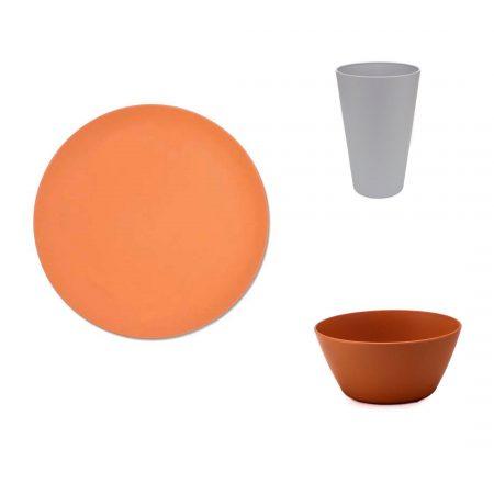 vajilla bambu apta para microondas naranja para camping