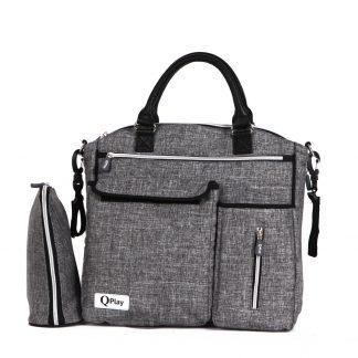 Bolso para-bebé-QPlay-Practical-gris-oscuro-carro-bebe