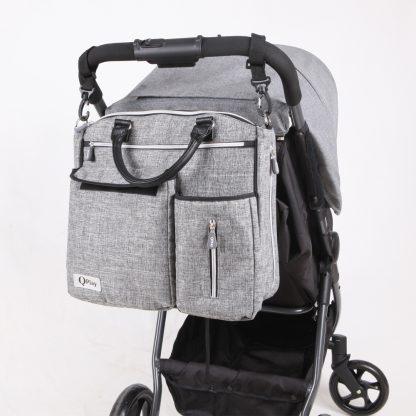 Bolso para-bebé-QPlay-Practical-gris-claro-carro