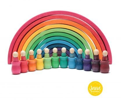 arcoiris con 12 nins con vasjia colores vivos JanaBanana
