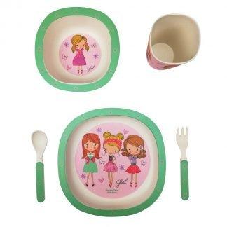 set 5 piezas vajilla bambu infantil tres niñas