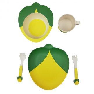 set 5 piezas vajilla bambu infantil limon