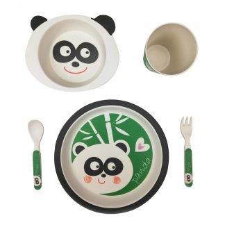set 5 piezas vajilla bambu infantil panda