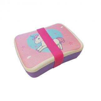 fiambrera infantil de bambu unicornio rosa