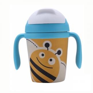 vaso infantil antigoteo de bambu con pajita abeja