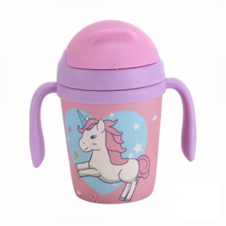 vaso infantil antigoteo de bambu con pajita unicornio rosa