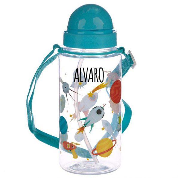 botella plastico con pajita 450ml space Personalizada JanaBanana