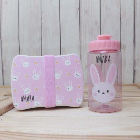 pack bambu fiambrera botella conejito rosa personalizado
