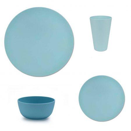 vajilla bambu apta microondas azul 16 piezas JanaBanana
