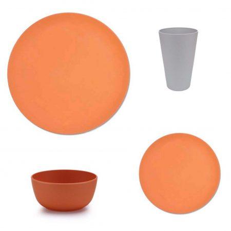 vajilla bambu apta microondas naranja 16 piezas JanaBanana