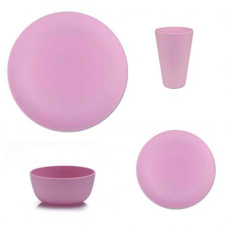 vajilla bambu apta microondas rosa 16 piezas JanaBanana