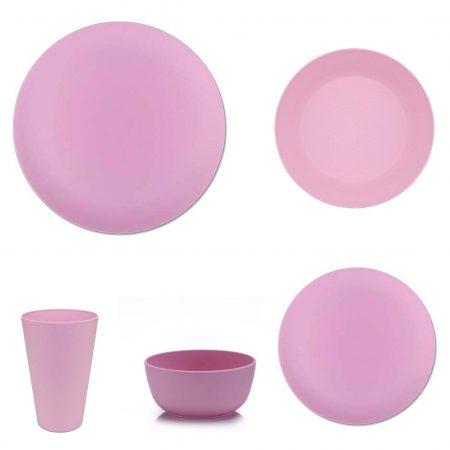 vajilla bambu apta microondas rosa 20 piezas JanaBanana 2