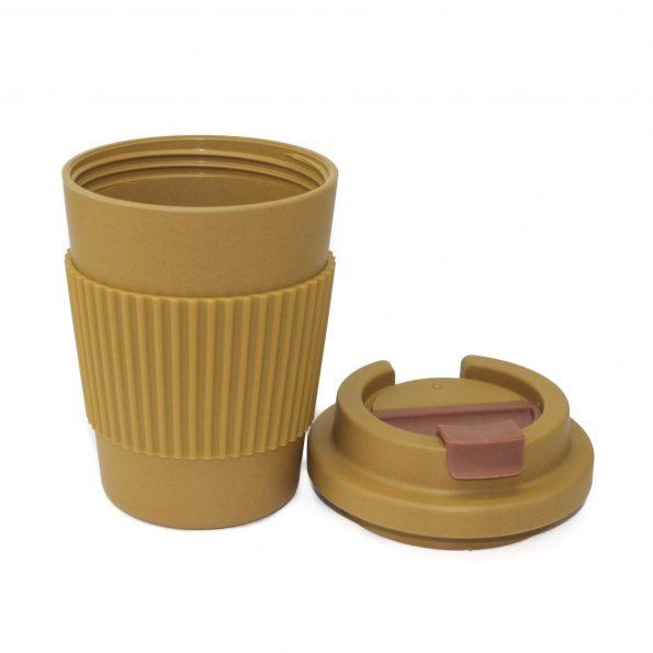 vaso bambu con tapa mostaza apto microondas 350 ml JanaBanana 3