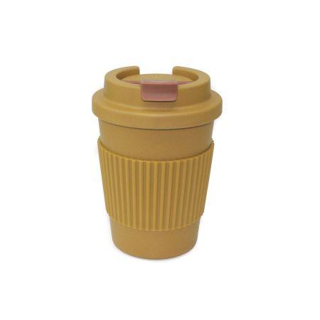 vaso bambu con tapa mostaza apto microondas 350 ml JanaBanana