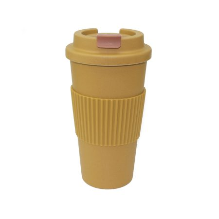 vaso bambu con tapa mostaza apto microondas 450 ml JanaBanana