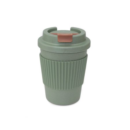 vaso bambu con tapa verde apto microondas 350 ml JanaBanana