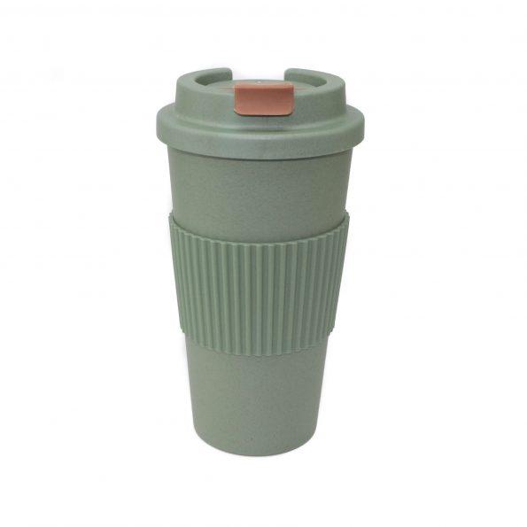 vaso bambu con tapa verde apto microondas 450 ml JanaBanana
