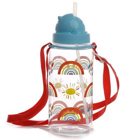 Botella Plástico con Pajita Rainbow
