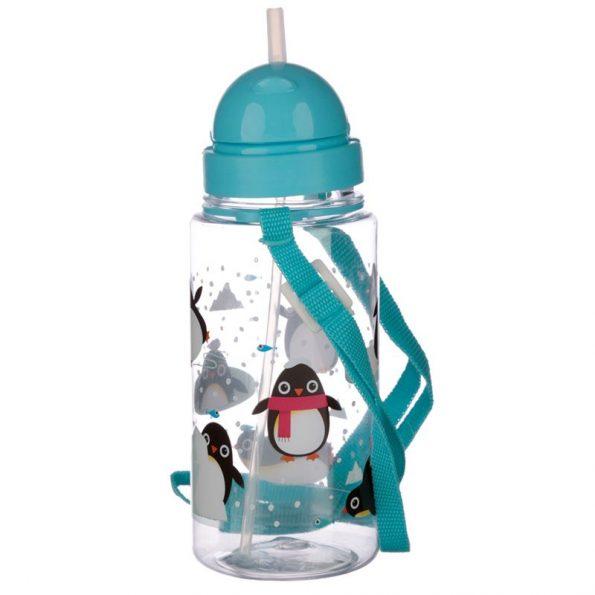 Botella Plastico con Pajita Pingüino 2