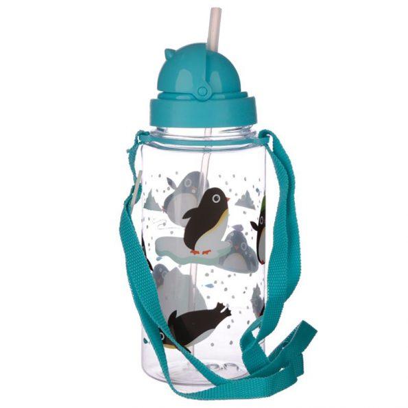 Botella Plastico con Pajita Pingüino 3