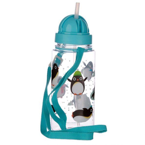 Botella Plastico con Pajita Pingüino 4