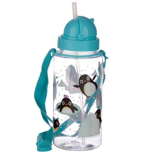 Botella Plastico con Pajita Pingüino