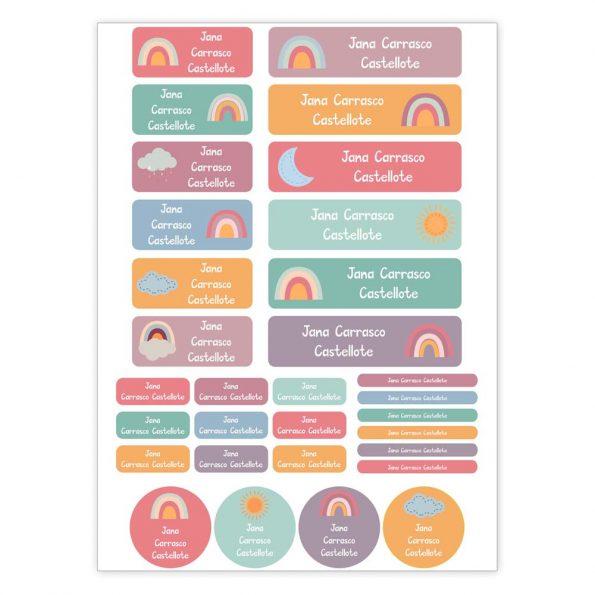 31 etiquetas para objetos Arcoiris JanaBanana
