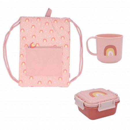 Pack guarderia o infantil arcoiris rosa personalizable JanaBanana