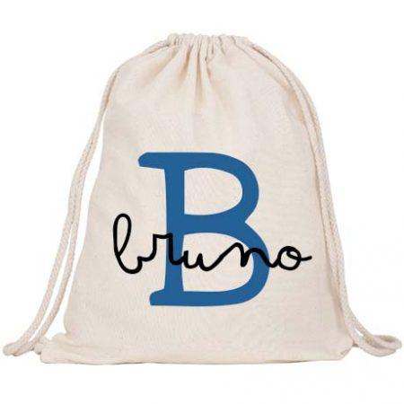 Mochila Saco Personalizada Inicial Azul Royal JanaBanana