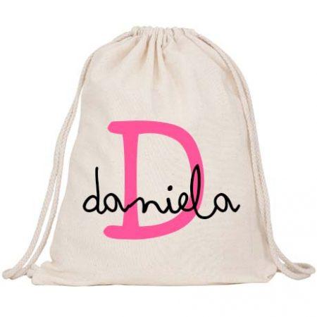 Mochila Saco Personalizada Inicial Rosa Barbie JanaBanana